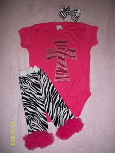 18 month zebra rhinestone cross onesie, leg warmers and hair bow set $20 at Sassy Girl Accessories