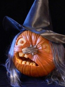 Witch pumpkin - use the stem as a nose