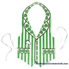 Colorful vest with ties in back. Made of tear-proof Tyvek material with St. Patrick's Day trimmings. #pattys #day