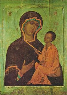 Icon Russian Icon, The Virgin Hodegetria of Tikhvin (mid-16C from the Moscow School)