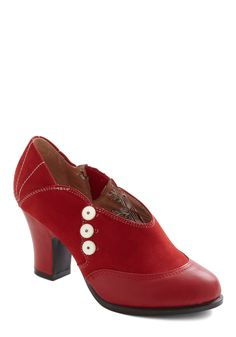 Ticket To Stride Heel by Miss L Fire - Mid, Leather, Red, White, Solid, Buttons, Party, Work, Casual, Vintage Inspired, 20s