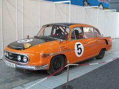 "Tatra 603-2 B5 ""Number Five"" in its 1967 ""Marathon de la Route"" orange-black livery (restored and presented to public in 1996)"