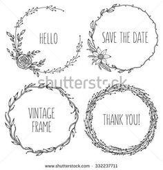 Vector vintage wreaths. Collection of trendy cute floral frames. Graphic design elements for wedding cards, prints, decoration, greeting cards. Hand drawn round illustration set.