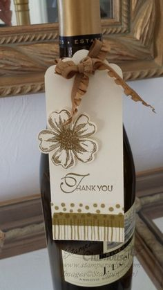 Flower Shop and Scallop Tag Topper make a super quick tag for a hostess thank you #stampinup #stampersclub