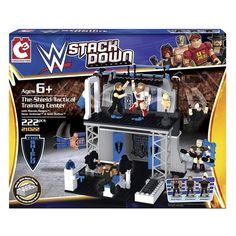 The Bridge Direct WWE StackDown: The Shield Tactical Training Center Play Set with Figures. Includes mini-figures of Dean Ambrose, Seth Rollins and Roman Reigns. Build, Brawl and Rebuild.