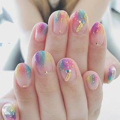 149 cute & stylish summer nails - page 28 > Homemytri. Pretty Nail Art, Cute Nail Art, Cute Nails, My Nails, Hair And Nails, Bling Nails, Korean Nail Art, Korean Nails, Minimalist Nails