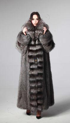 EXCLUSIVE SILVER FOX FUR COAT size L XL LONG 100% GENUINE NEW 2016
