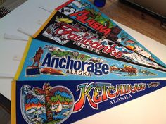 No need to take the long trip to #Alaska when you can decorate with this lot of Alaskan Souvenir pennants, colorful and excellent. Includes Anchorage, Ketchikan, Fairbanks, Animals