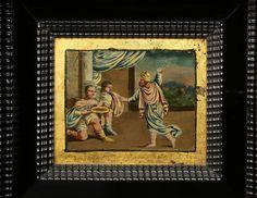 Итальянский 18 век Людовика XIV негр и обратного окрашенный стеклянный шкаф, стенд 10