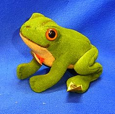 Vintage German Stuffed Animal Steiff Frog Froggy with Button