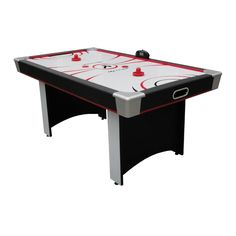 The Red Line 6 ft. Victory Air Hockey Table is a solid gaming table with plenty of power for smooth airflow. Its durable 4-inch MDF aprons and leveling pedestal legs offer a sturdy and even PVC playin