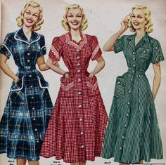 1950s house dresses: 1952 plaid, dots and stripes with contrast trim and buttons