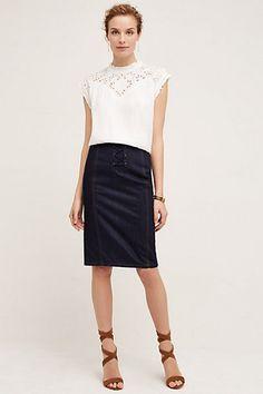 Lace-Up Denim Skirt #anthropologie