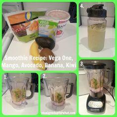 Smoothie Recipe: Mango, Avocado, Banana, Kiwi, and Vega One. #OneChange