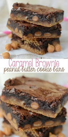 Caramel Brownie Peanut Butter Cookie Bars