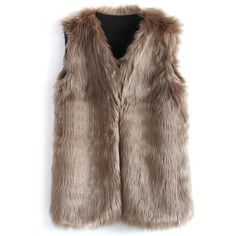 Chicwish Mid-Length Brown Faux Fur Vest (705 ARS) ❤ liked on Polyvore featuring outerwear, vests, jackets, tops, fur, beige, beige vest, brown waistcoat, brown faux fur vest and faux fur vest