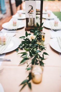 wedding reception details at table