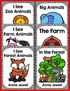 Emergent Readers for Beginning Readers- 7 Emergent Readers. Class Book (8 1/2 x 11) in color. Student books are black lines with super easy assembly! Check it out! Annie Jewell.