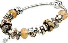 Chamilia Bracelet with Ivory & Brown Charms - Build it at Darcy's. #Chamilia
