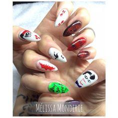 Nail art. Studio 2075, Montreal City. Designed by Melissa Monderie.  Batman nails. Joker nails. :)