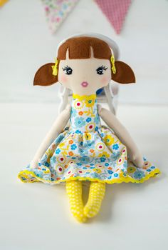 Rag Dolls, Fabric Dolls, Yellow Birthday, Ballerina Doll, First Baby, Handmade Baby, Doll Clothes, Sewing Projects, Organic