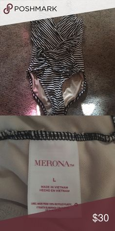 Merona Swimsuit 2016 Swim season Merona (from Target) one piece swimsuit! Worn only ONCE! Super flattering. Black and white stripped. Built in padding! Adjustable straps! Merona Swim One Pieces
