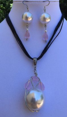 Necklace set with Earrings/Handmade/glass by MyCreationsDesigns