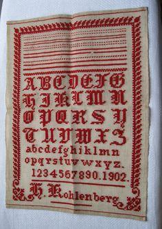 Antikes Stickmustertuch, Jugendstil 1902, ausgezeichnete Arbeit, Bestzustand !
