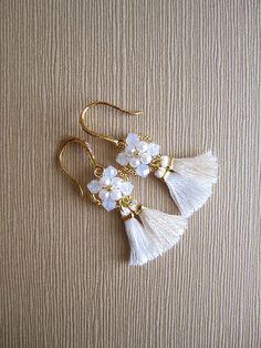 White tassel earrings with Swarovski crystals Boho Hippie