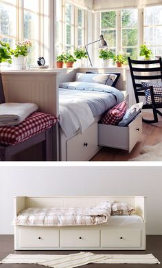 Sofa by day and bed at night, the IKEA HEMNES daybed frame has 3 drawers built-in to store duvets and pillows. It has four functions - sofa, single bed, double bed and storage solution!