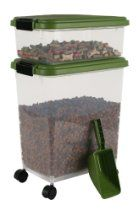 IRIS Airtight Pet Food Container Combo Kit, Green/Black
