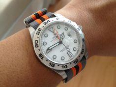 Rolex Explorer II with orange/gray nato strap