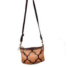 Handmade Leather cross body bag with top zip and Moroccan inspired design on the front of the bag. Two tone brown and tan Handmade Tiles, Dark Brown Leather, Casablanca, Ancient Art, Handmade Leather, Cross Body Handbags, Leather Crossbody Bag, Moroccan, Camel