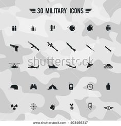 Flat military army and soldier weapon transportation sign and symbol such as gun grenade tank jet and badges silhouette icon collection set with camouflage background, create by vector