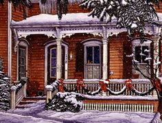 Victorian home at Christmas time ~ The Porch by Thelma Winter