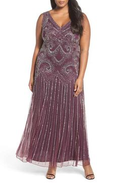 Pisarro Nights Embellished Double V-Neck Gown (Plus Size)