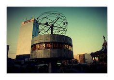 world time clock at Alexanderplatz Time Clock, Ferris Wheel, Berlin, Fair Grounds, World, Places, Travel, Viajes, Destinations