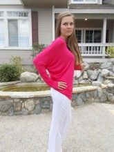 White Linen Pants Matched With Fuchsia Dolman Top. Perfect for Spring!!