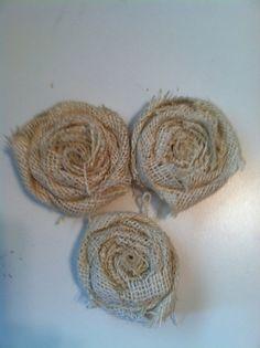 Set of 3 Handmade Burlap Flowers, $6.00