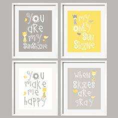 You Are My Sunshine Giraffe Art Prints Yellow and by YassisPlace, $59.95