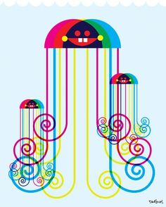 Jellyfish- exclusive fabric wall decal (Poster that Sticks) by Dan Stiles. $39