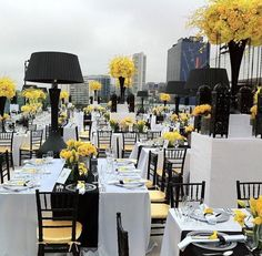 Rooftop reception at The London West Hollywood overlooking the Hollywood Hills. This black, white and yellow deco is SO chic.tall yellow centerpieces, black vases, black lights, yellow and black chairs Birthday Party Table Decorations, Birthday Party Tables, Wedding Decorations, Wedding Ideas, Yellow Decorations, Yellow Centerpieces, Rooftop Wedding, Hotel Wedding, Rooftop Party