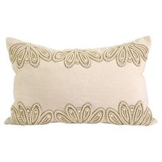 "Cotton-linen pillow with beaded accents and a down fill.     Product: PillowConstruction Material: Cotton and linen cover and down fillColor: BeigeFeatures:  Insert includedBeaded accents Dimensions: 13"" x 20"""