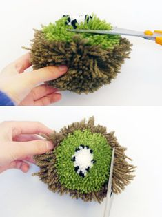 """""""diy pom poms"""" - These adorable DIY pom poms from Mr. Printables are a step up from just the average solid-colored pom pom. Diy Arts And Crafts, Creative Crafts, Crafts To Make, Crafts For Kids, Diy Crafts, Pom Pom Wreath, Pom Pom Rug, Pom Poms, Pom Pom Crafts"""