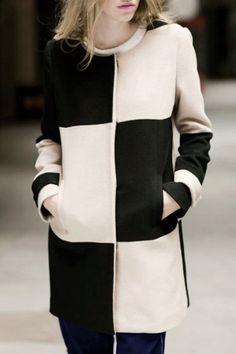 Chic Round Neck Long Sleeve Color Block Woolen Coat For Women