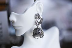 Peacock Jhumkas, Large Statement Jhumkas, Silver jhumka, Tribal Jhumka,