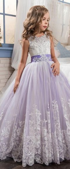 Gorgeous Tulle & Satin Jewel Neckline Ball Gown Flower Girl Dresses With Lace Appliques