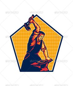 Blacksmith Worker Striking Sledgehammer Anvil Retr #GraphicRiver Illustration of a blacksmith worker with sledgehammer striking at anvil done in retro style. Editable EPS8 (you can use any vector program), JPEG and Transparent PNG (can edit in any graphic editor) files are included. Created: 9August13 GraphicsFilesIncluded: TransparentPNG #JPGImage #VectorEPS Layered: No MinimumAdobeCSVersion: CS Tags: anvil #blacksmith #hammer #illustration #industrial #industry #male #man #metalworker…