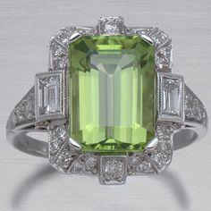 Art Deco Peridot Diamond Ring