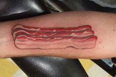 Bacon tattoo. Not smart.